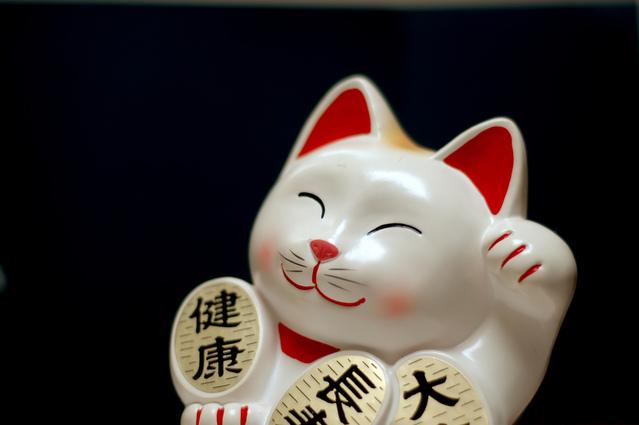 japonská kočka štěstí na mince